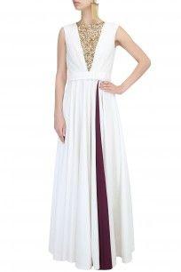 Ivory And Burgundy Panel Floral Embroidered Flared Gown #clothes #Mahimamahajan #designer #shopnow #happyshopping