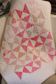 Baby Quilt  Pink and White Hour Glass Quilt by PebbleCreekArts, $200.00