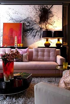 Wow, I love the design and color of this room. Pink sofa with bold art in the interior design 2012 decorating before and after interior room design Decoration Inspiration, Room Inspiration, Interior Inspiration, Design Inspiration, Design Ideas, Decor Ideas, Design Trends, Interior Ideas, Design Projects
