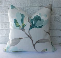 Decorative Pillow Cover - 18 x 18 inch reversible.  Cream, Gray, Yellow-Green and Teal Floral, $36.00