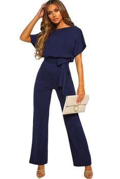 Wholesale Jumpsuits & Rompers, Cheap Blue Oh So Glam Belted Wide Leg Jumpsuit Online - Women's fashion - Women Plus Size Formal Jumpsuit, Plus Size Romper, Formal Romper, Long Overalls, Overalls Women, Rompers Women, Jumpsuits For Women, Womens Jumpsuits Formal, Fashion Jumpsuits