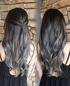 Silver gray ombré color melt