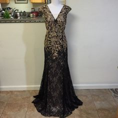 Gold & Black Lace Evening Gown, 2XL Very classic look evening black lace gown and beautifully appliqués with richly gold embellishment and beadworks on the bodice and finished with a soft Alercon lace mermaid skirt and a sweep train. At back covers a black illusion soft tulle that adds a romantic flare look. Perfect for Prom, military ball, homecoming, Class reunion or mother dress. Size 2xl, Brand new with tag. Accepting offers. Bicici & Coty Collections Dresses Prom