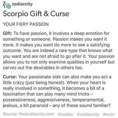 Scorpio Gift & Curse. Tag a #Scorpio Website: thezodiaccity.com   Shop: zodiaccityshop.com #zodiac #zodiaccity