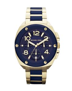 my beautiful present :) love my hubby!! Michael Kors Mid-Size Golden/Navy Stainless Steel Tribeca Chronograph Watch.