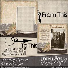 Digital Scrapbook Quick Page - Vintage Spring Digital Scrapbook Layout by Robyn Gough on Etsy, digiscrap, digital scrapbooking,