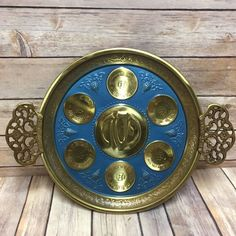 The Passover symbols are in Hebrew and English. with handles. Passover Recipes, Passover Meal, Passover Seder Plate, Candlesticks, Decorative Plates, Antiques, Ebay, Vintage, Easter