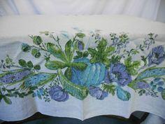 Vintage Natural Fiber Linen Print Fall Design Tablecloth Table Linen 52x62   eBay