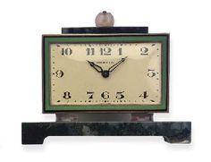 (2)  AN ART DECO MOSS AGATE AND ENAMEL DESK CLOCK, BY TIFFANY & CO.