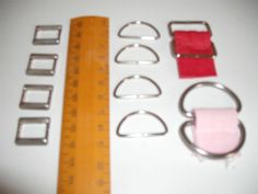 12-x-boucle-en-metal-ANNEAUX-6-x-demi-cercle-6-x-rectangle-silver-tone-TABLIER-sangles