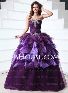 f2151c654ab Inexpensive Sweetheart Neckline Ball Gown Floor Length Purple Vestidos de Quinceanera  Dresses With Puffy Embellishment