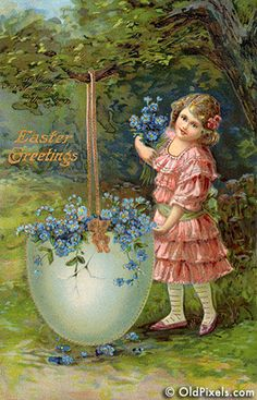 """Vintage Easter postcard with """"Forget-Me Not"""" Flowers Easter Vintage, Vintage Holiday, Easter Art, Easter Crafts, Vintage Greeting Cards, Vintage Postcards, Vintage Ephemera, Decoupage, Easter Pictures"""