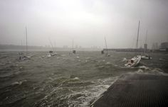 Superstorm Sandy:  Sailboats rock in choppy water along the Hudson River Greenway in New York during Sunday on Monday, Oct. 29.