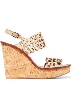 TORY BURCH Nori Cutout Metallic Wedge Leather Sandals. #toryburch #shoes #sandals