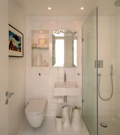 like the use of space in this one too, recessed wall cubby, need vanity though for under sink storage.