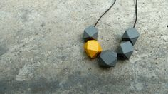 Geometric Wood Necklace - Hedron Necklace - Grey and Mustard on Etsy, $17.96