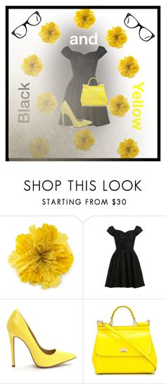 """""""Black And Yellow"""" by nichelle-thompson ❤ liked on Polyvore featuring Gucci, D.anna, Dolce&Gabbana and Muse"""