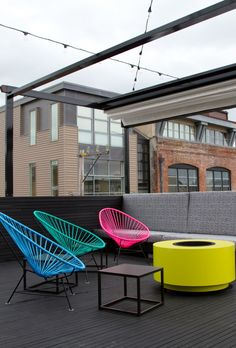 Day Glo rooftop space/fire pit