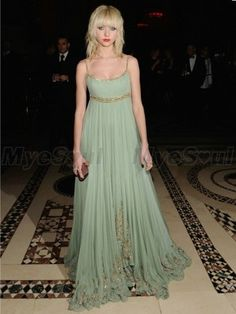 Taylor Momsen A-line Spaghetti Straps  Beading  Sleeveless Floor-length Chiffon Sage Prom Dress / Evening Dress