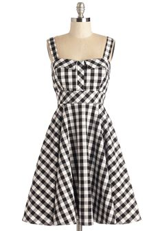 Pull Up a Cherry Dress in Black Gingham - Multi, Checkered / Gingham, Print, Daytime Party, Pinup, Fit & Flare, Tank top (2 thick straps), Woven, Rockabilly, Vintage Inspired, 50s