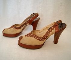 Darling 1940's brown leather and ivory fabric peep toe platform sling back heels with dot pattern vlv rockabilly pin up girl WW2 - size 8 N. $95.00, via Etsy.