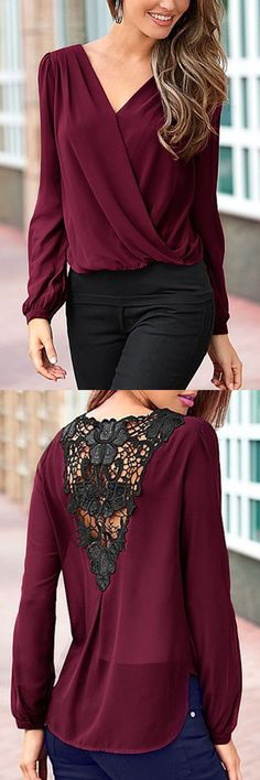 Burgundy Ladies Style V-neck Lace T-shirt