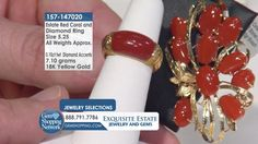 Red Coral Cabochon & Diamond 18K Yellow Gold Ring.  Tune into the most exquisite jewelry on television 24/7! New jewelry arriving daily – Blue Sapphire Necklaces, Red Ruby Rings, Green Emerald Earrings, Yellow Diamond Bracelets and more stunning jewelry at Gem Shopping Network. Call in for pricing.   Item #157-147020 Emerald Green Earrings, Blue Sapphire Necklace, Coral Turquoise, Red Coral, Yellow, Ruby Rings, Gold Rings, Coral Ring, Diamond Bracelets