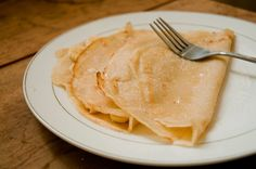 Super Simple Vegan Crepes. Flour, soy milk, and coconut oil    Can't wait to try these with bananas and peanut butter!
