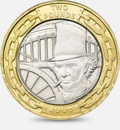 """""""Isambard Kingdom Brunel was born in These two 2006 marked 200 years. Rare British Coins, Rare Coins, Isambard Kingdom Brunel, English Coins, Coin Design, Gold Money, Coin Values, Antique Coins, Gold Bullion"""