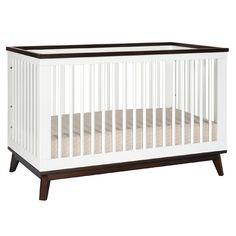 White and Walnut Scoot Convertible Crib