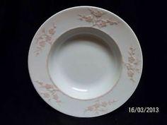 Spode Blanche de Chine Geisha Pink Rim Salad Plates ( 3 ) Vintage England Rare