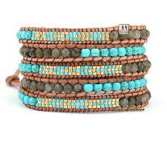 top kwaliteit geselecteerd glazen kralen met turquoise en labradoriet wrap armbanden geweven patroon kralen wrap armband