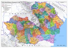 The administrative map of Romania in