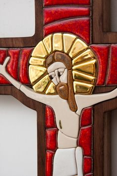 ceramic cross, mosaic, gold, christian art