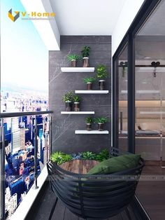 Stylish 40 Enchanting Apartment Balcony Decorating Ideas Balconies are extensions of houses and apartments having both a practical and an aesthetic purpose. Small Balcony Design, Small Balcony Garden, Small Balcony Decor, Balcony Plants, Balcony Gardening, Balcony Ideas, Potted Plants, Balcony Flooring, Balcony Chairs