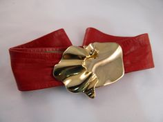 Red Leather and Gold Vintage 80s Belt by VintageBaublesnBits, $15.00