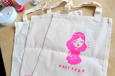 Whatever screenprinted calico tote bag, limited run.    Made in Japan as a part of the Mel Tak exhibition that took place at FOIL Gallery, Kyoto and