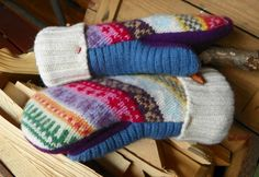 (9) Name: 'Sewing : Upcycled Felted Wool Mittens