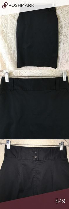 "Banana Republic high waisted pencil skirt sz 4 Black high waisted pencil skirt from Banana Republic. Size 4. Machine washable 95% cotton 5% spandex fully lined with polyester/spandex. Has pockets. Set in back zipper. 2.5"" waistband with belt loops. 8"" kick pleat. 14"" across waist. 18"" across hips. 26"" from top of waistband to hem. No tears or holes. EUC from a smoke free home. Banana Republic Skirts Pencil"