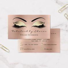 #beauty - #Makeup Eyebrow Lashes Glitter Diamond Pink Rose Business Card