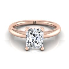 Princess Cut Diamond Solitaire Engagement Ring With Rounded Shank In - beautiful wedding rings Radiant Cut Engagement Rings, Yellow Engagement Rings, Wedding Rings Solitaire, Beautiful Engagement Rings, Solitaire Engagement, Beautiful Rings, Bridal Rings, Princess Cut Diamonds, Shank