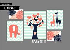 Coral Peach and Navy Nursery canvas art prints by babyartprints