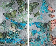 DAVID BROMLEY (BORN 1960) Butterflies acrylic and silver leaf on canvas (di