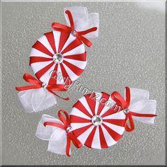 Pinzas de pelo de caramelo de menta roja y blanca Navidad Navidad de arco de pelo pinza de pelo por GirlyKurlz