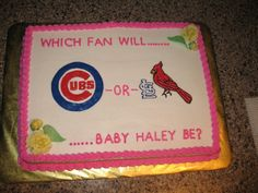 Cardinals/Cubs fan baby shower cake design.