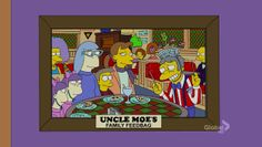 Moe shows pictures of his bar after previous makeovers: Uncle Moe's Family Feedbag (Bart Sells His Soul)