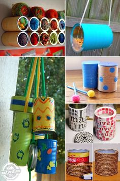 Coffee can crafts, tin can crafts, winter crafts for kids, diy craf Diy Craft Projects, Diy And Crafts Sewing, Diy Crafts Videos, Diy Crafts To Sell, Winter Crafts For Kids, Diy Crafts For Kids, Fun Crafts, Family Crafts, Summer Crafts