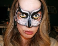 Adult Owl face paint | ... artist from sweden owl psychosandra owl talent makeup makeup artistri
