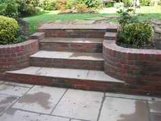 Set of raj steps inside the stock brick wall - Quilling Garden Miniature Garden Retaining Wall, Landscaping Retaining Walls, Garden Paving, Sloped Garden, Terrace Garden, Backyard Landscaping, Landscaping Ideas, Retaining Wall Steps, Patio Steps