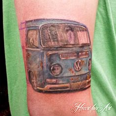 Beginning of a Vw Camper and Surfing Themed Tattoo Sleeve!, ;0 ;) BOMB!! LOVE THESE Vw's, but wouldn't get as a tattoo personally;)